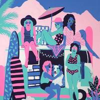 【Kim Sielbeck キム・シルベック】デジタルプリントアート Surf Watch 11×14