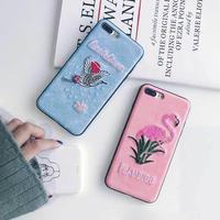 [MD051] ★ iPhone 6 / 6s / 6Plus / 6sPlus / 7 / 7Plus / 8 / 8Plus / X ★ シェルカバー ケース フラミンゴ 刺繍 可愛い アニマル