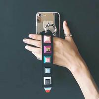 [KS151] ★ iPhone SE / 5 / 6 / 6Plus / 7 / 7Plus ★シェル型 ケース スクエア キューブ スタッズ ストラップ ミラー iPhone ケース