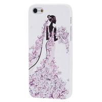 【SS051】フラワー ウーマン ドレス イラスト ビジュー プラスチックiPhone5/5sケース ホワイト