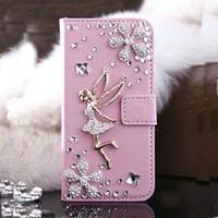【TH029】★ iPhone 6 ★ きらきら 妖精 モチーフ 手帳 型 の iPhone ケース 2色 ( ホワイト ピンク ) ゴージャス おしゃれ かわいい ストーン