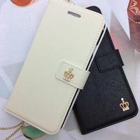 【AO109】★ iPhone7 ★ ゴールドクラウン サフィアーノ レザー 手帳型ケース かわいい おすすめ おしゃれ