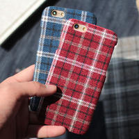 [KS066] ★ iPhone 6 / 6Plus / 7 / 7Plus ★ シェル型 ケース ブラック グレー ブルー レッド チェック ファブリック トラディショナル