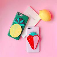 [KS168] ★ iPhone 6 / 6Plus / 7 / 7Plus ★シェル型 ケース パイン いちご フルーツ パイナップル いちご ミラー付 iPhone ケース