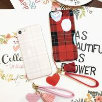 [KS130] ★ iPhone 6 / 6Plus / 7 / 7Plus ★ シェル型 ケース ピンク レッド チェック ハート チャーム タッセル 液晶保護 フィルム iPhone ケース