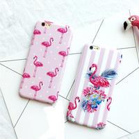 [KS145] ★ iPhone 6 / 6Plus / 7 / 7Plus ★ シェル型 ケース ピンク フラミンゴ イラスト フラワー ストライプ カワイイ iPhone ケース