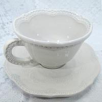 【イタリアの陶器】ラ・セラミカ カップ&ソーサ/クリーム【お値段相当の重厚感があります!かわいい~!】