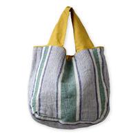 【lino e lina】リバーシブルバッグ ポントワーズ グリーン【高級リネン 麻 トートバッグ 】手提げバッグ かわいい おしゃれ ナチュラル