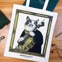 クラシックキャットトートバッグ-チェロ|音楽雑貨