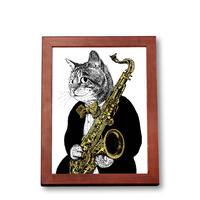クラシックキャット肖像画  - サックス|音楽雑貨