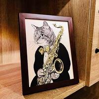 クラシックキャット肖像画  - サックス|音楽雑貨  のコピー