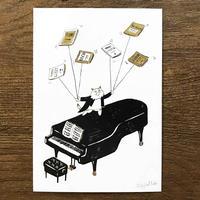 音楽サーカスはがき - Piano|音楽雑貨