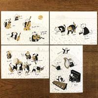 クラシックキャット四季はがき-秋(4枚入り)|音楽雑貨