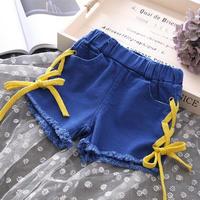 ☺︎kids☻サイド編み上げデニムショートパンツ  【ブルー】  イエロー紐