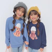 kids ユニセックス【90-140】ニット帽アニマルデザイン薄手スウェットトップス【ブルー犬】 #1208