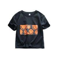 kidsユニセックス☻ニコちゃんボックスデザイン半袖Tシャツ【ブラック】 #590