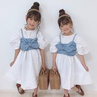 kids【120-160】シャツワンピース+デニムビスチェセット#1037