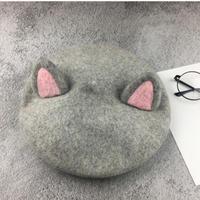 kids★ネコ耳デザインベレー帽子【グレー】