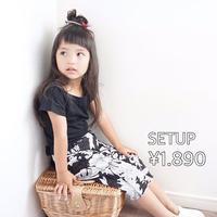 ☺︎kids【セットアップ】シンプルトップス+花柄ボトム