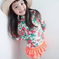 再再入荷☺︎kids【3点セット】花柄ラッシュガード+パンツ+キャップ☆ピンク#163