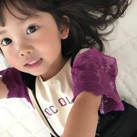 ☺︎kids☆袖レースロゴプリントTシャツ【パープル】
