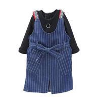 kids☻ブラックカラートップス&ストライプデザインスカートサロペット【2点セット】