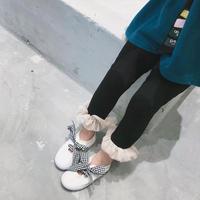 再入荷★kids☻裾フリルデザインシンプルレギンス【ブラック】