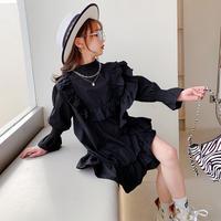 kids【110-160】フリルデザインシャツワンピース【ブラック】#1017