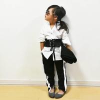 kids☻サイド1本ラインスウェットパンツ【ブラック】