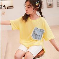 ☺︎kids☆ポケット切替デザイン半袖Tシャツ【イエロー】#253