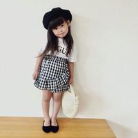 再入荷☺︎kids★ロゴ入りデザインギンガムチェック切替ワンピース【ホワイト】
