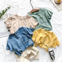 kidsユニセックス☻胸ポケット付デザイン半袖シンプルTシャツ【イエロー】#556