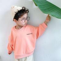 kidsユニセックス☻バック英字ニコちゃんデザイントップス【オレンジ】#483