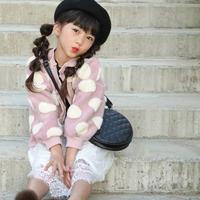 kids☻ドットデザインニットガーディガン  【ピンク】