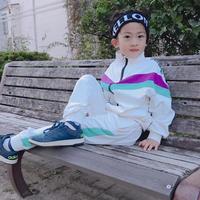 再入荷★kids兼用ok☻英字デザインサイドラインセットアップ【ホワイト】