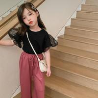 kids☻袖チュールデザイン半袖Tシャツ 【ブラック】 #545