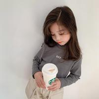 kidsユニセックス【90-140cm】☺︎OFFロゴデザインハイネックトップス【グレー】#822