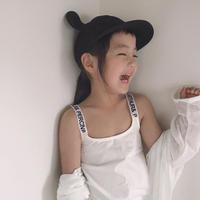 ☺︎kids☻紐英字デザインシンプルキャミソール【ホワイト】#134