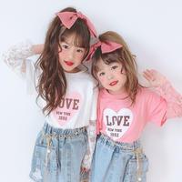 kids☻ LOVEハートプリントレースドッキングトップス【ピンク】#552