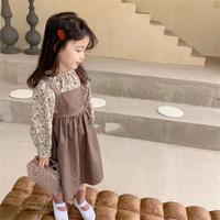 kids【90-130】小花柄チュニック+ジャンパースカート 2点セット#1209