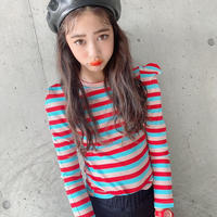 kids【110-160】ボーダーパフ袖トップス【レッド】#1138