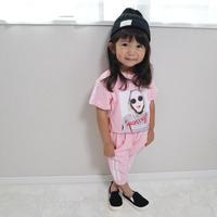 ☺︎kids★【セットアップ】ガールズフォトトップス+サイドラインパンツ★ピンク