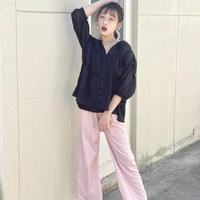 再入荷☺︎kids☻リブデザインワイトパンツ【ピンク】#1012