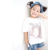 kids兼用ok☻who Ami?ロゴ入りガールズフォトプリント半袖Tシャツ