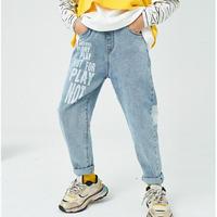 kidsユニセックス☻英字デザインデニムパンツ【ライトブルー】#687