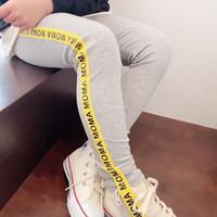 kids☻サイド英字ラインデザインレギンス【グレー】#476