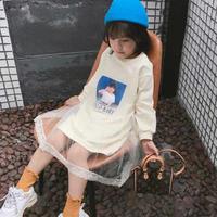 ☺︎kids☻ガールズフォトプリント長袖ワンピース【ホワイト】
