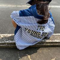 kids ユニセックス【110-140】バック英字切替デザインシャツ#1195