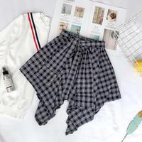 ☺︎レディース★リンクコーデに★巻きシャツ風チェック柄デザインスカート#154
