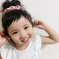 kids☻【4色展開】フロント編みデザイン  ヘアバンド ヘアリボン